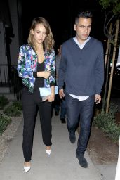 Jessica Alba Night out Style - Leaving Gracias Madre Reastaurant in West Hollywood - May 2014