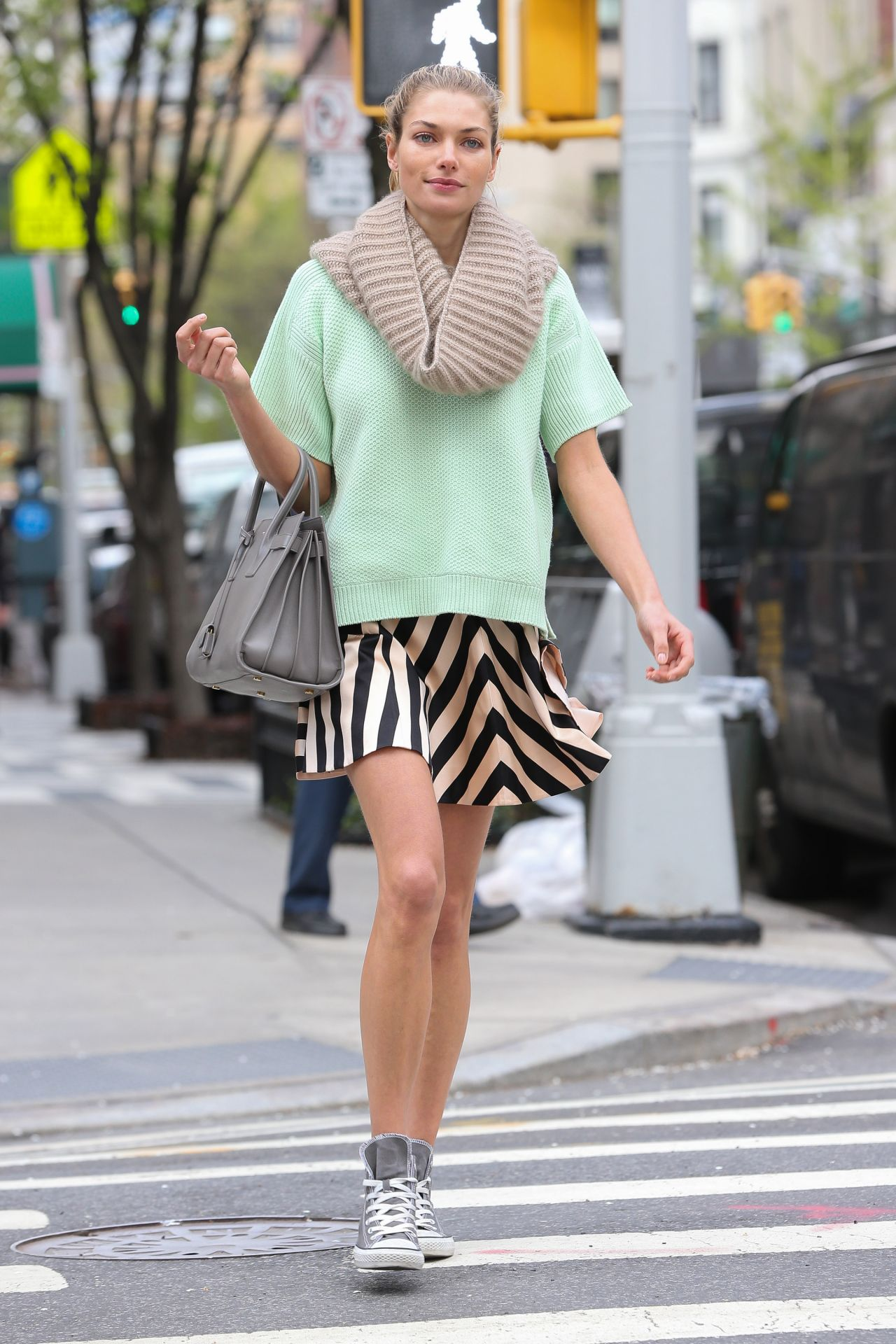 Jessica Hart in Mini Skirt - Out in New York City - May 2014