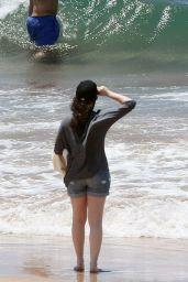 Kat Dennings In Shorts At A Beach In Maui May 2014