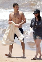 Kat Dennings in Shorts at a Beach in Maui - May 2014