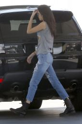 Kendall Jenner in Ripped Jeans - Stops for Gas in Studio City - May 2014