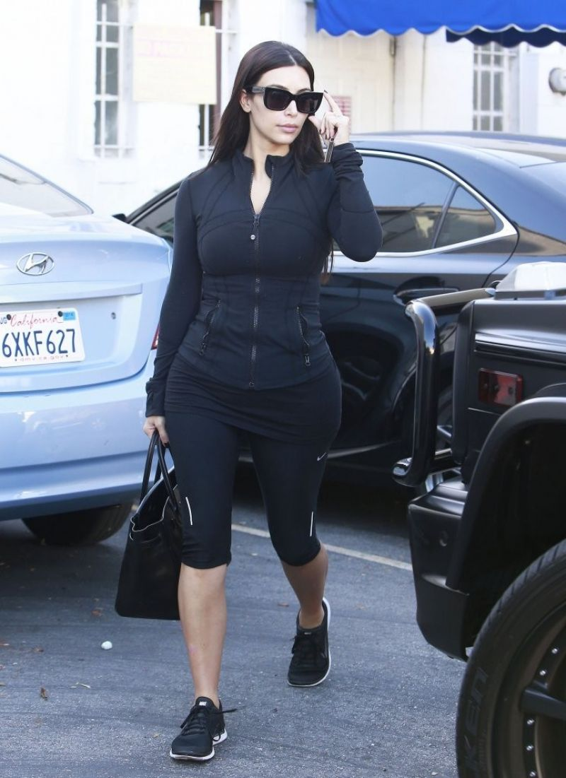 Kim Kardashian in Tights - Out in Beverly Hills - May 2014