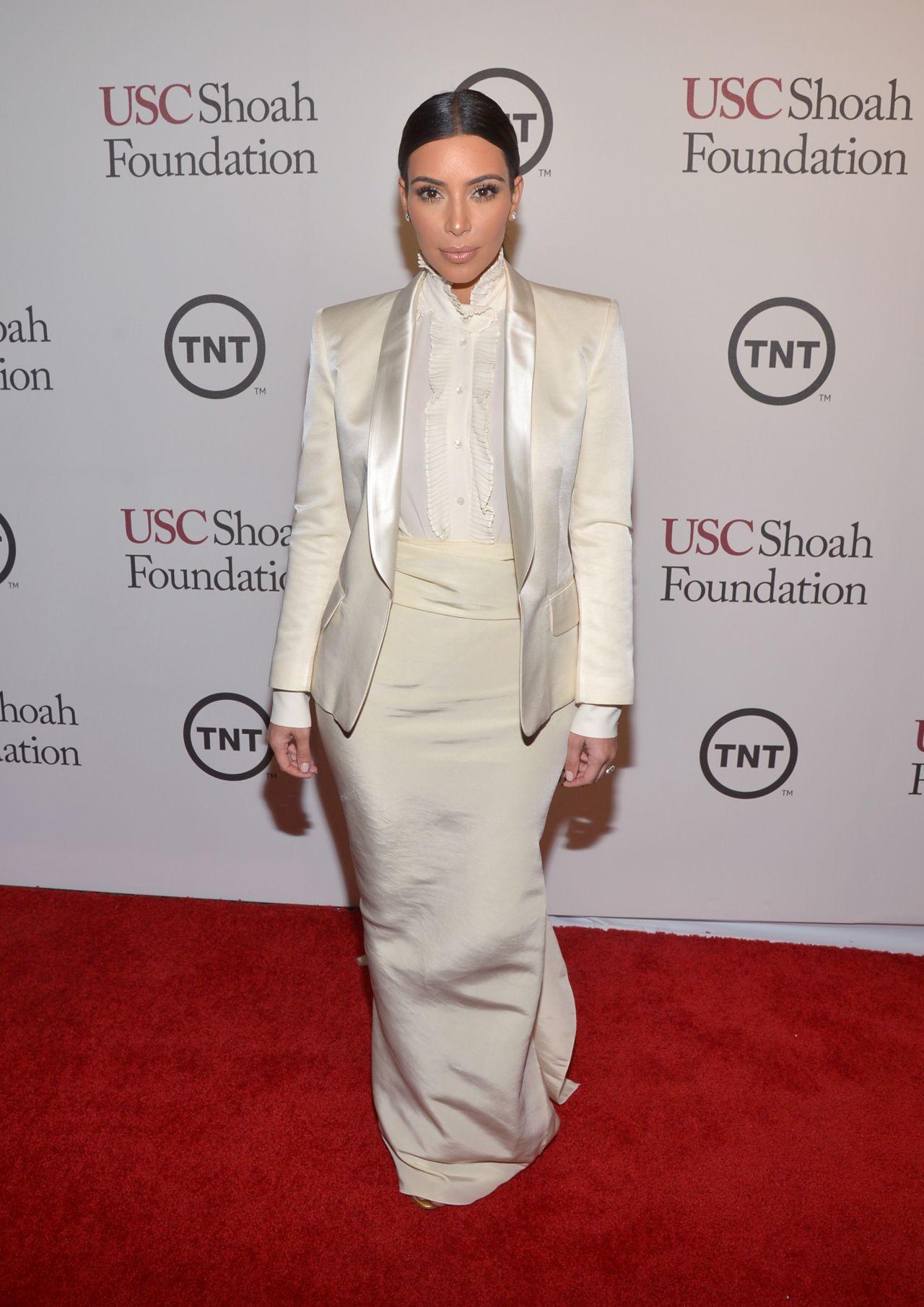 Kim Kardashian Wearing  Balmain, Alexander McQueen & Lanvin - 2014 USC Shoah Foundation