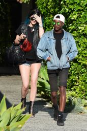 Kylie Jenner Gets Leggy In Shorty Shorts - Leaving the Andy LeCompte Salon in LA - May 2014