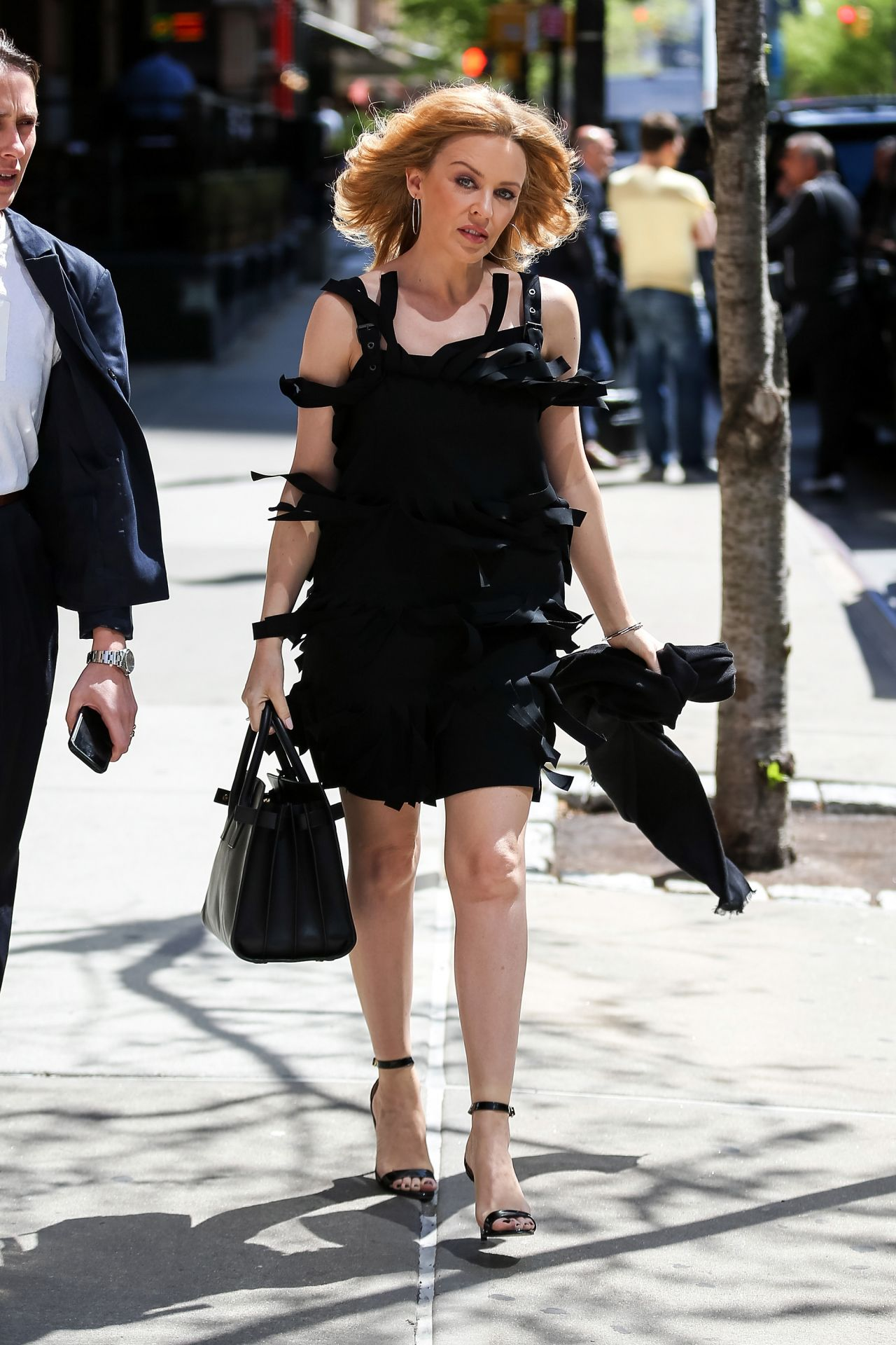 Kylie Minogue Flashes Her Legs in Mini Dress - Out in NYC - May 2014
