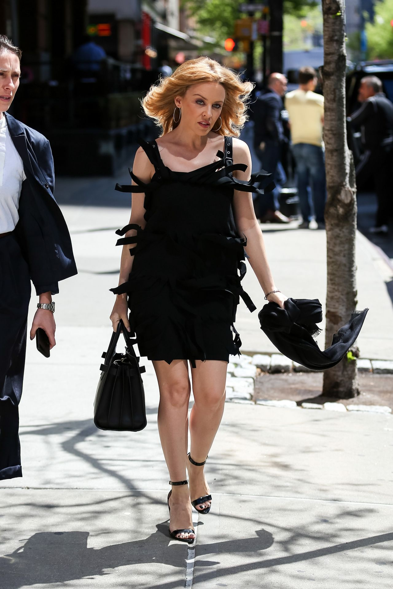 Kylie Minogue Flashes Her Legs In Mini Dress Out In Nyc