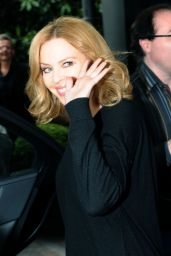 Kylie Minogue in Italy - Leaving Her Hotel in Milan - May 2014