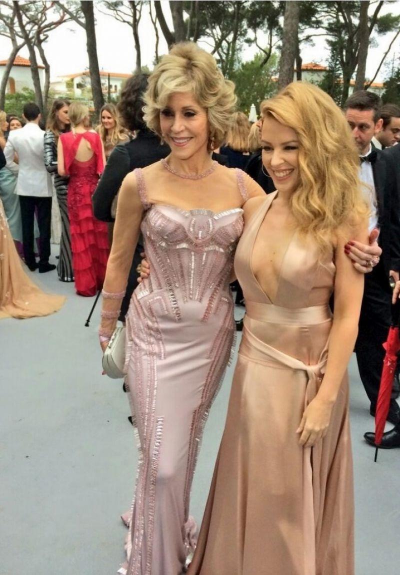 Kylie Minogue with Jane Fonda - amFAR Gala 2014 - Twitter & Instagram Photos