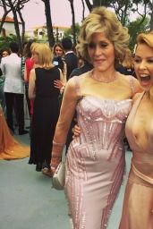 Kylie Minogue with Jane Fonda - amFAR Gala 2014 - Twitter & Instagram Photos