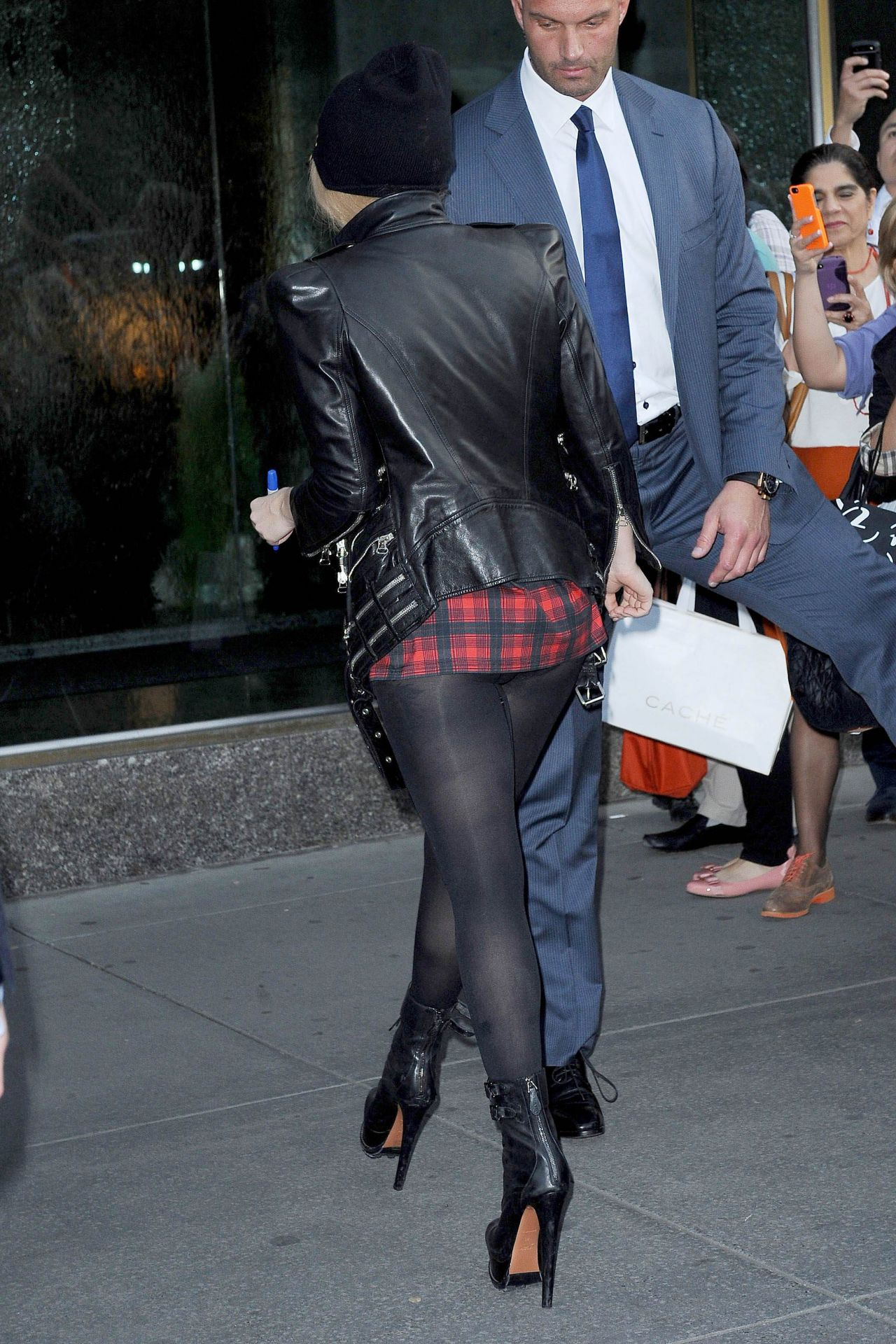 Lady Gaga Shows Her Legs New York City May 2014