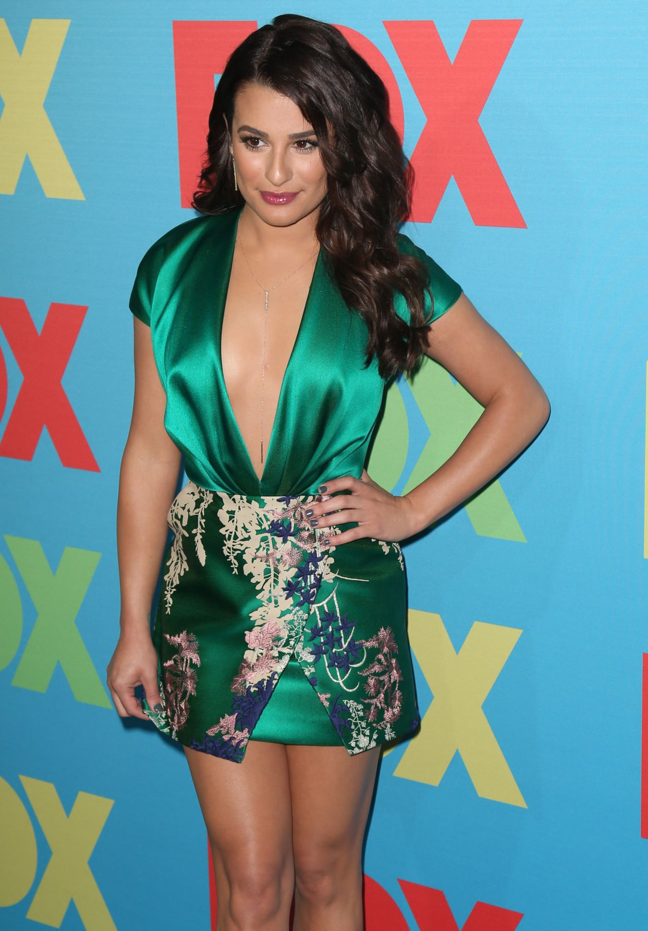 Lea Michele Wearing Blumarine Mini Dress Fox Upfronts 2014