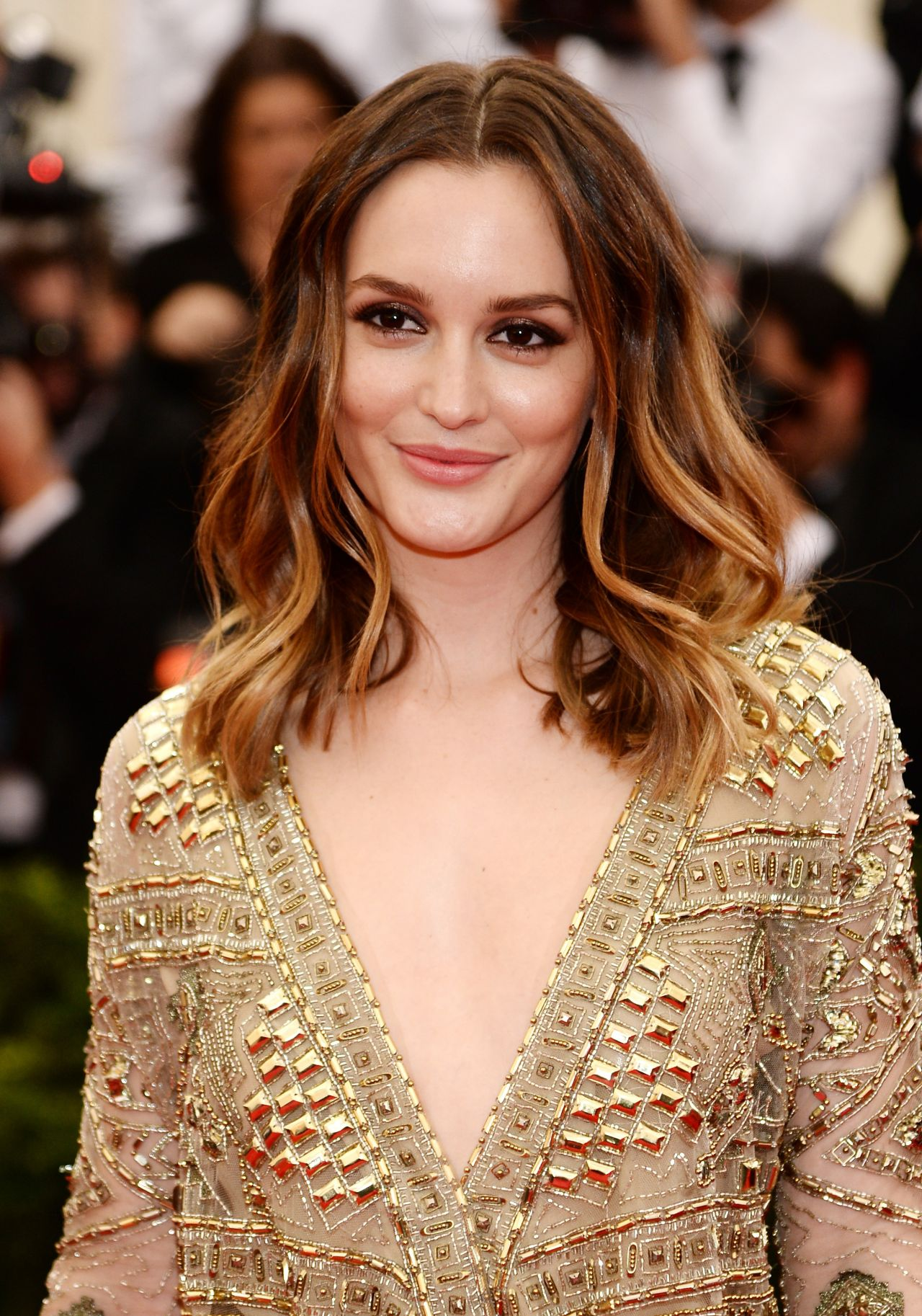 Leighton Meester Wearing Emilio Pucci Sheer Gown – 2014 Met Costume ...