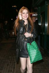 Lindsay Lohan Night Out Style - Leaving the Firehouse Club in London - May 2014