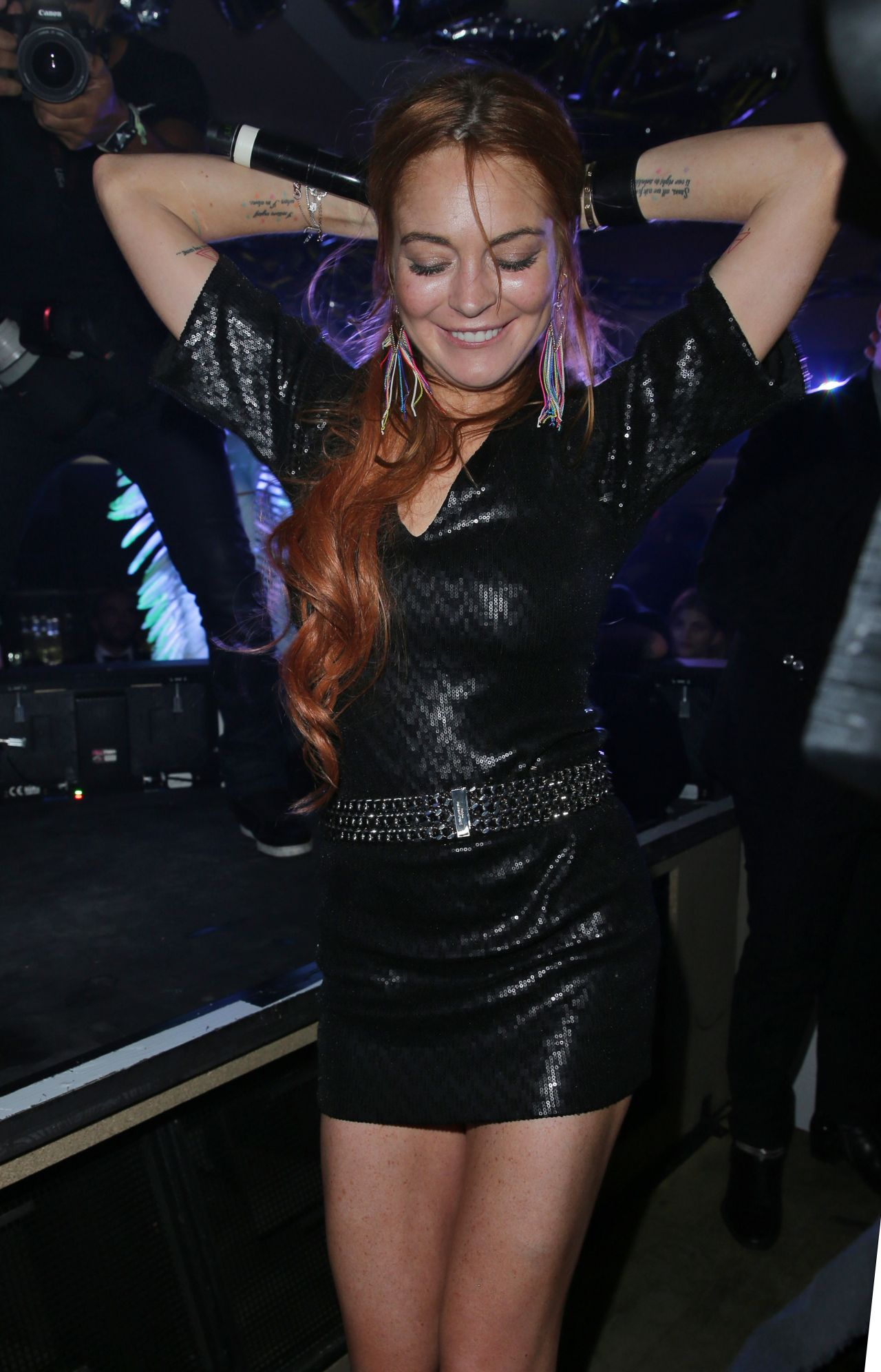 lindsay lohan night out style vip room nightclub in cannes may 2014. Black Bedroom Furniture Sets. Home Design Ideas