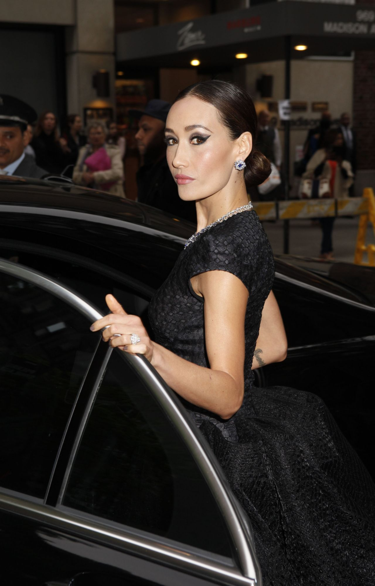 Maggie Q Wearing Zac Posen Black Ball Gown 2014 Met