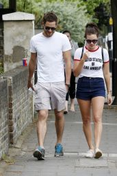 Margot Robbie Shows Off Her Legs in Shorts - Out in London - May 2014