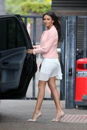 Michelle Keegan in White Skirt - Leaving ITV Studios - May 2014