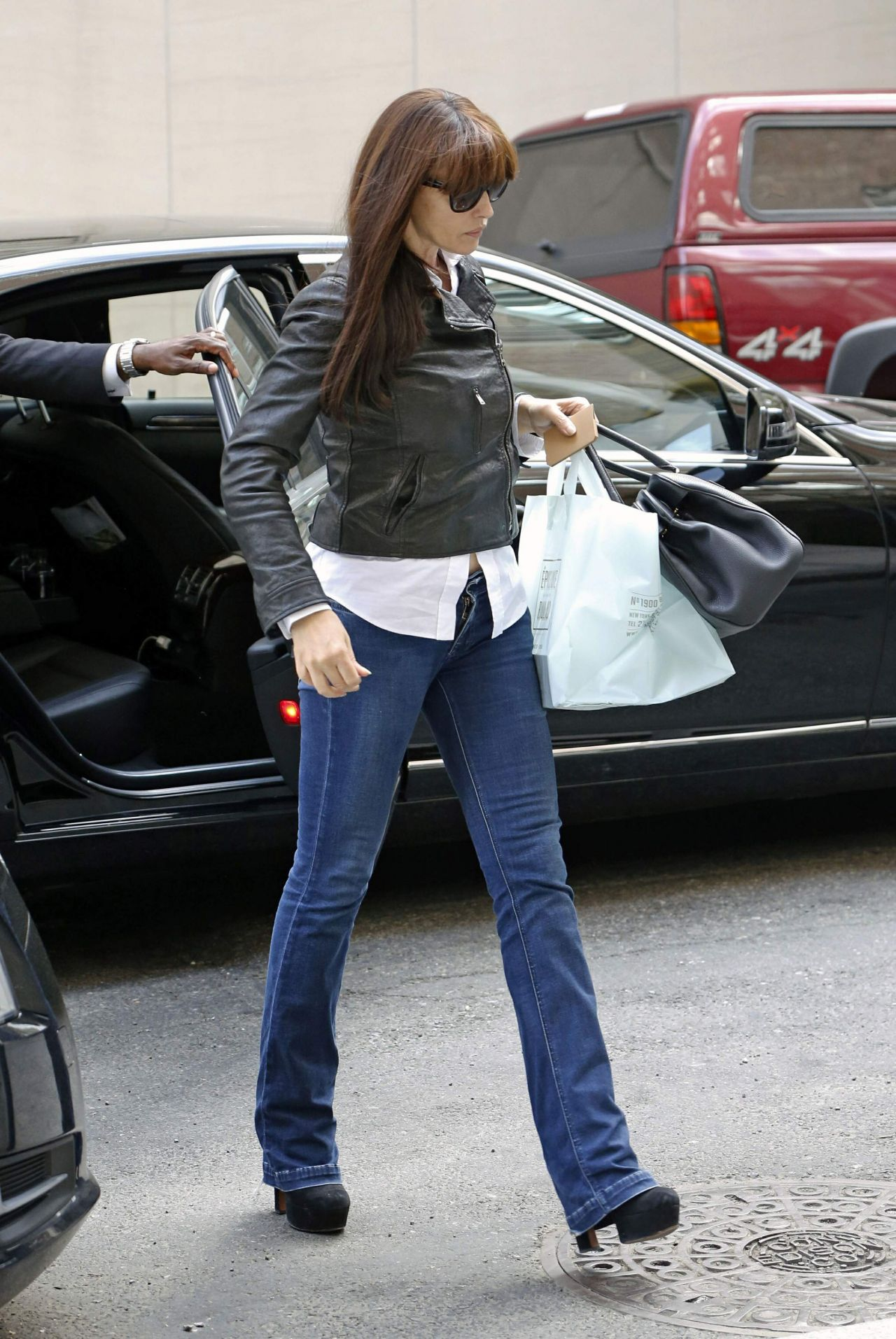 Monica Bellucci in Jeans - Leaving Her Hotel in New York ...