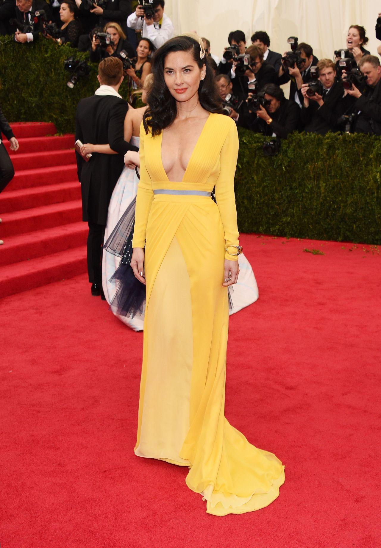 Olivia Munn Wearing Diane Von Furstenberg Yellow Gown
