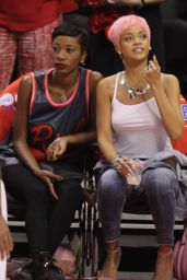 Rihanna at the Clippers Game in Los Angeles - May 2014