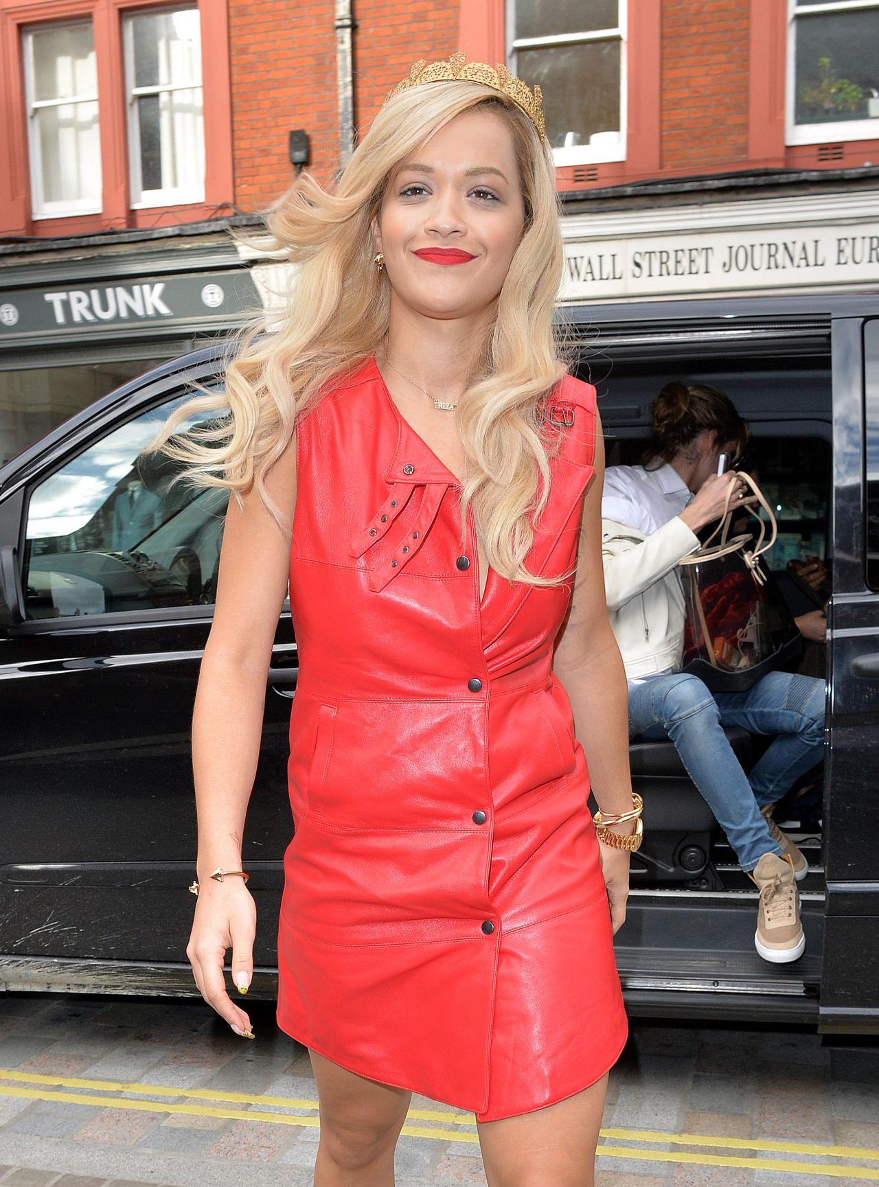 Rita Ora in Red Dress - Capital FM Studios in London - May 2014