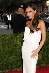 Victoria Beckham in  Victoria Beckham White Custom Creation at 2014 Met Costume Institute Gala