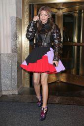 Zendaya Coleman Leggy in Mini Skirt – Going to Dinner in New York City - April 2014