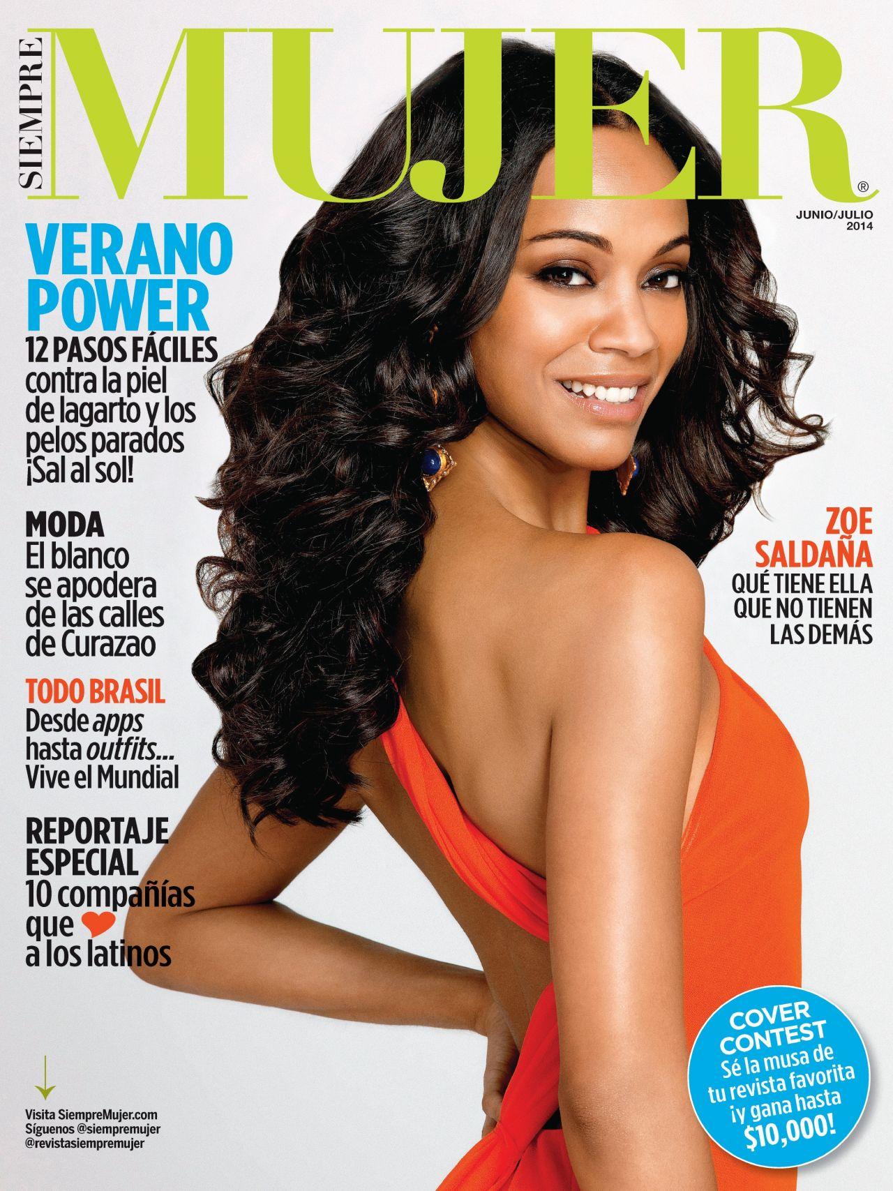 Zoe Saldana - Siempre Mujer Magazine June/July 2014 Issue