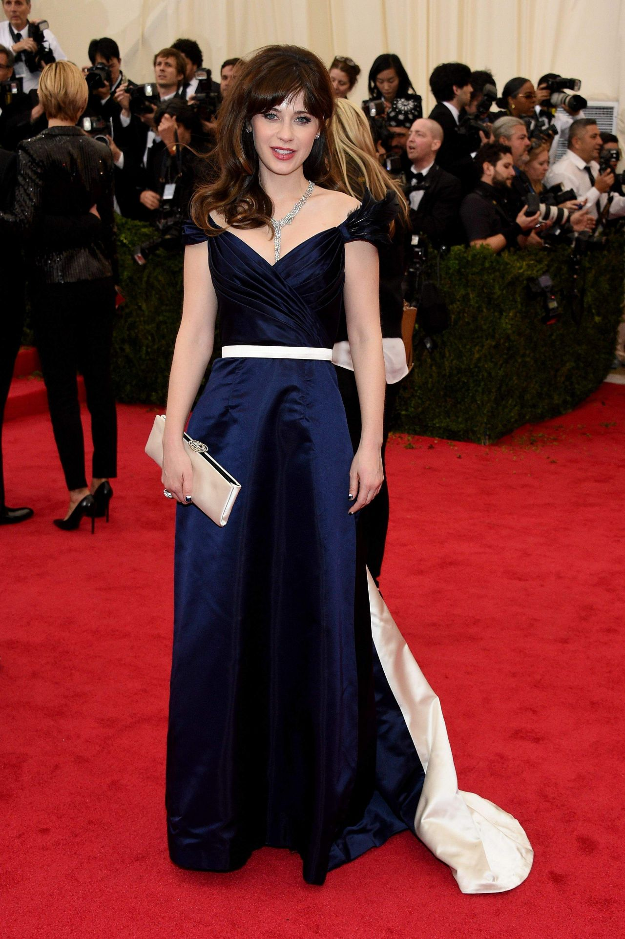 Zooey Deschanel In Tommy Hilfiger Midnight Blue Duchess