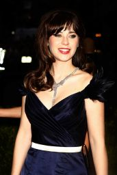 Zooey Deschanel in Tommy Hilfiger Midnight Blue Duchess Satin Gown– 2014 Met Costume Institute Gala