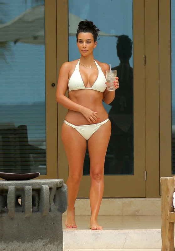 Kim Kardashian in a White Bikini in Mexico - June 2014