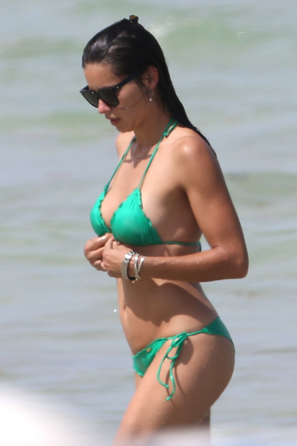 Adriana Lima in Green Bikini in Miami - June 2014
