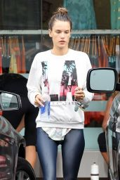 Alessandra Ambrosio in Tights - Leaving SoulCycle in Brentwood - June 2014