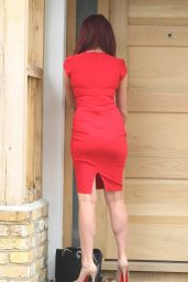 Amy Childs In Red Dress - Outside Her Home in Brentwood - June 2014