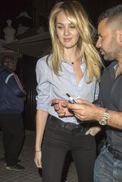 Candice Swanepoel Night Out Style  - Leaving Chiltern Firehouse in London