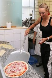 Caroline Wozniacki Making Pizza - Prepares for Aegon International 2014