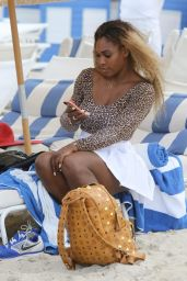 Caroline Wozniacki & Serena Williams in a Bikini and Swimsuit at a Beach in Miami - May 2014
