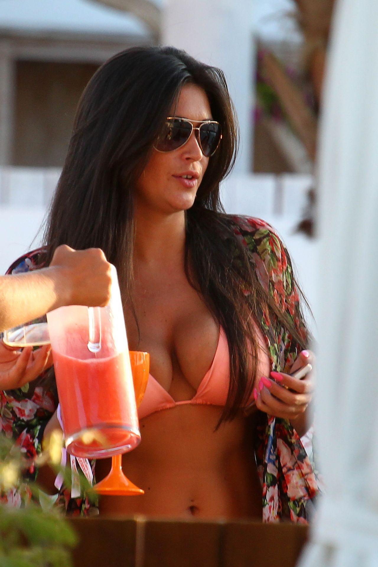 Casey Batchelor in a Bikini Top at Ocean Beach in Ibiza - June 2014
