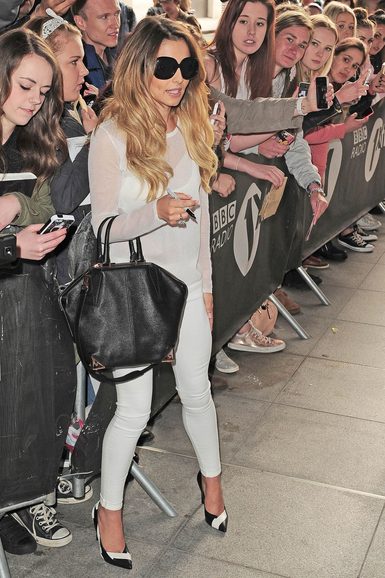 cheryl cole casual style - at bbc radio 1 in london