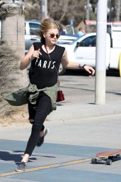 Chloe Grace Moretz - Skateboarding with Brooklyn Beckham in Santa Monica - May 2014