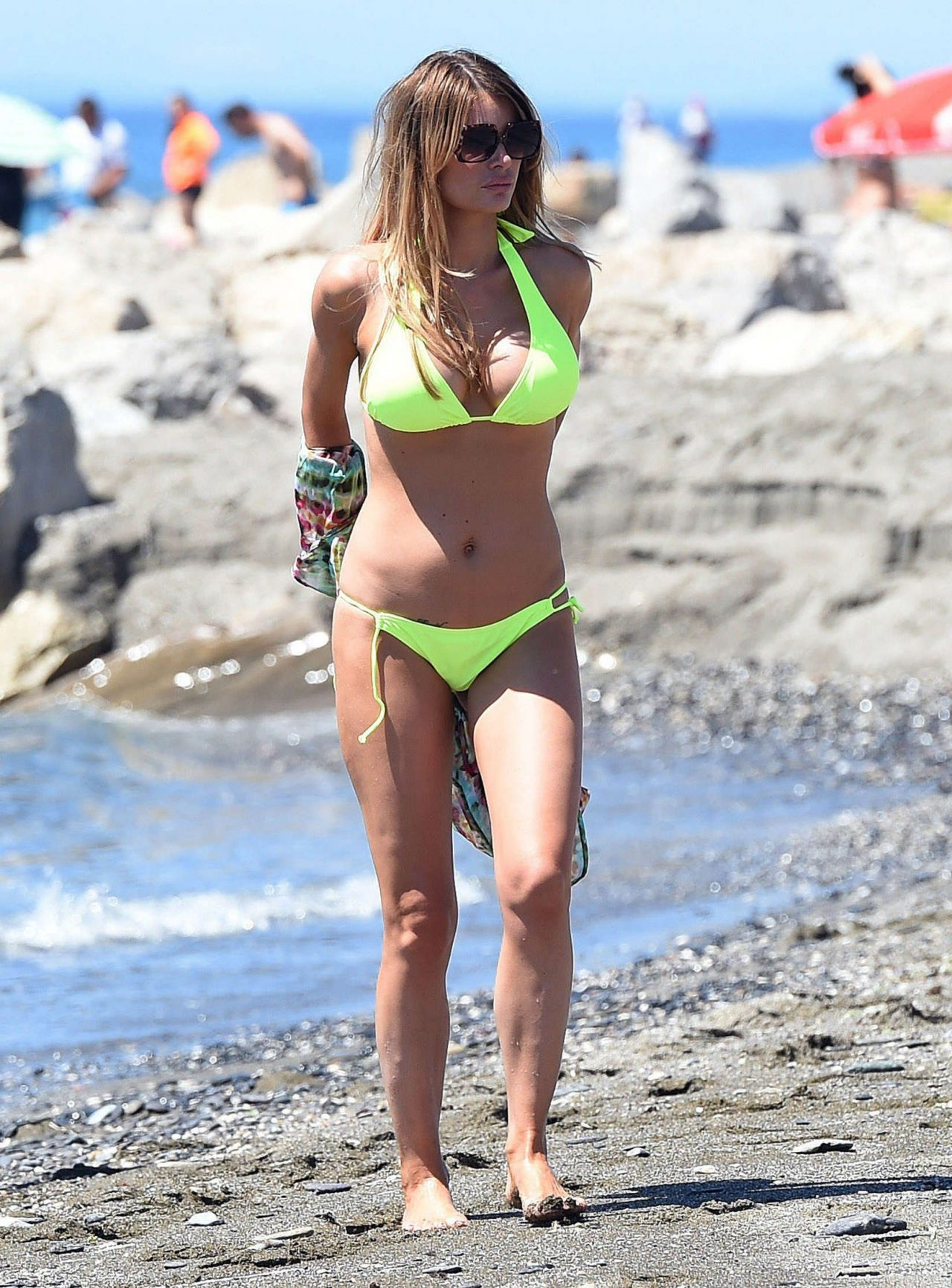 Chloe Sims in Green Bikini - Beach in Marbella, Spain - June 2014