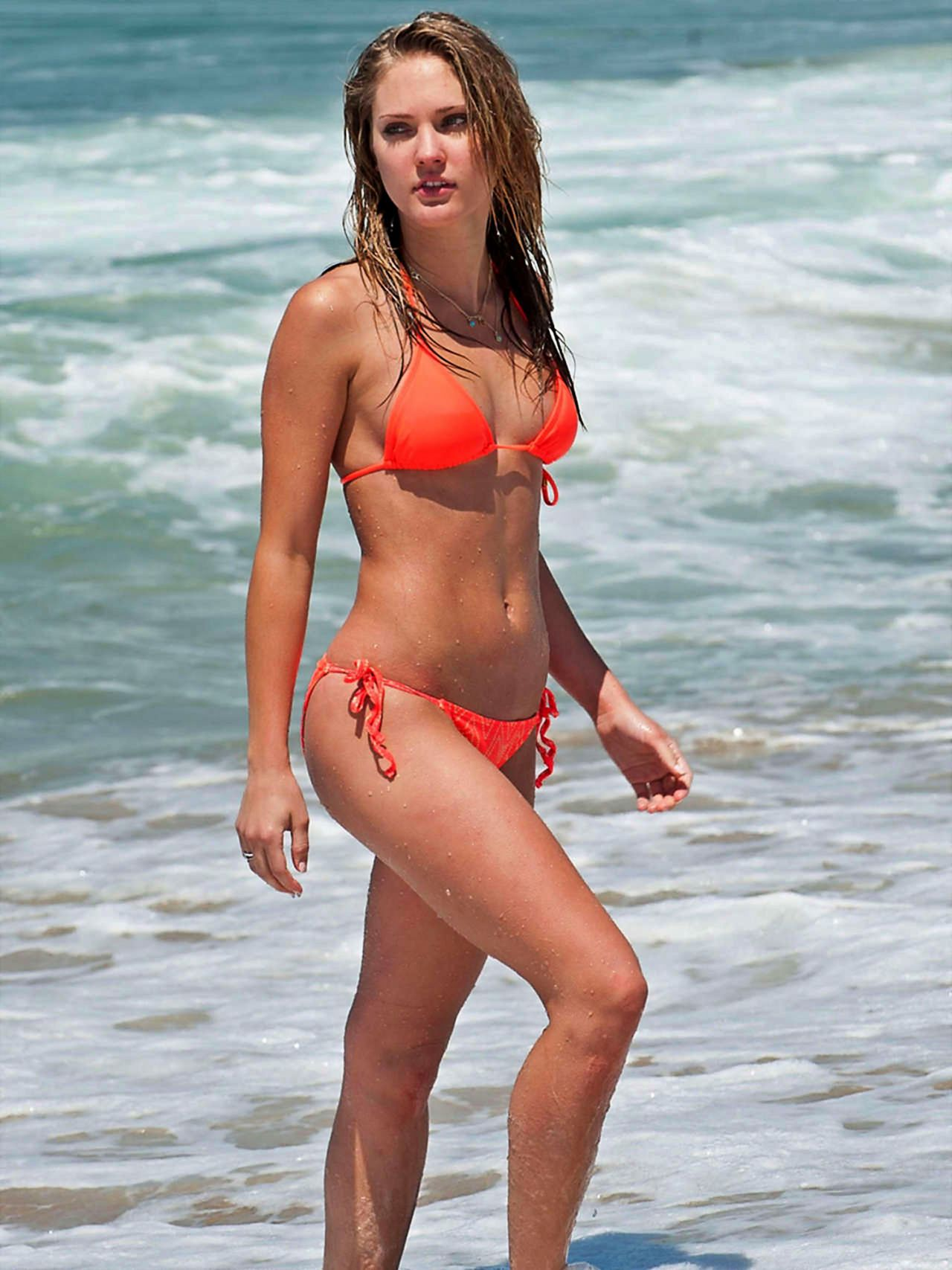 Ciara Hanna In Orange Bikini Beach In La June 2014