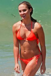 Ciara Hanna in Orange Bikini - Beach in LA - June 2014