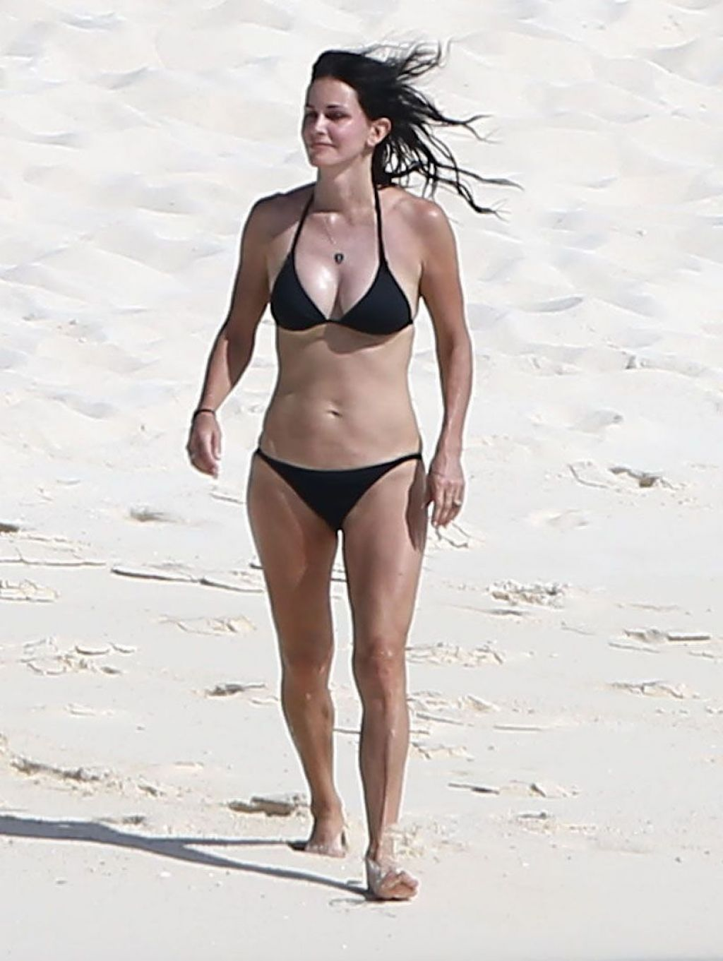 Courteney Cox Wearing A Bikini On The Beach In Turks And