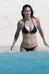 Courteney Cox Wearing a Bikini on the Beach in Turks and Caicos - June 2014