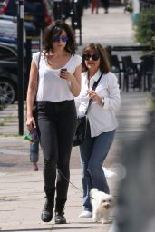 Daisy Lowe Street Style - Walking Her Dog in London - June 2014