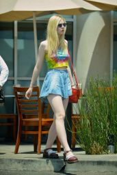 Elle Fanning in Mini Skirt - Stopping by Vitos Pizza - June 2014