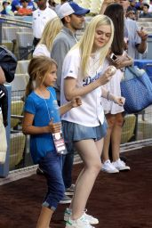 Elle Fanning Throws Out 1st pitch at Dodger Stadium in Los Angeles - June 2014
