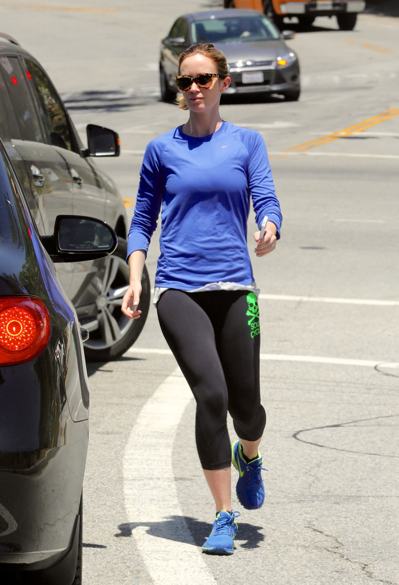 emily blunt in tights - out in los angeles