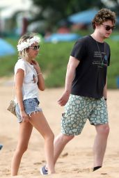 Emma Roberts in a Bikini Top at a Beach in Maui - June 2014